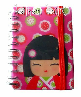 Goth Petit Carnet de Notes à Spirales Kimmi Junior Kokeshi ROSE & ROUGE gothique