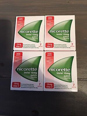 Nicorette Invisi Patches. 15mg-Step 2. 4 X Boxes = 28 Patches. Long Expiry BNIB