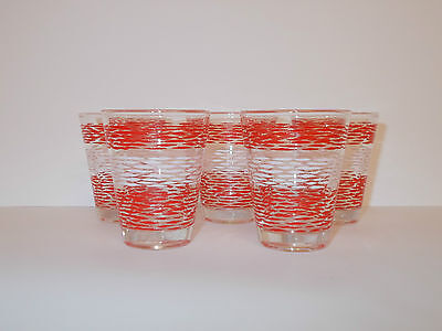 5 x Clear Glass Whisky Spirit Tot Shot Glasses with Red and White Design  Lovely