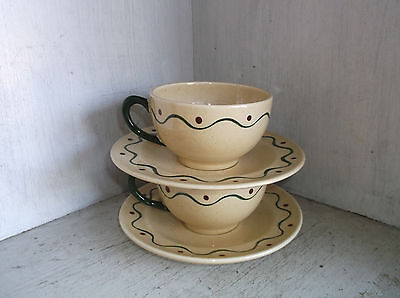 2 Metlox CALIFORNIA PROVINCIAL Cups & Saucers Pottery Rooster