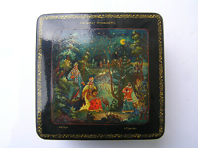 VINTAGE  RUSSIAN LACQUER BOX MSTERA lackey HAND PAINTED - Snow Maiden