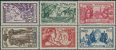 French Oceania 1937 SG121-126 Exhibition Paris MLH