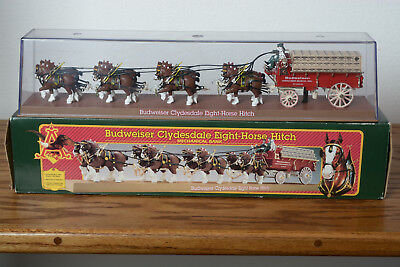Budweiser Clydesdale 8 Horse Hitch Mechanical Bank In Box w/ Display Cover