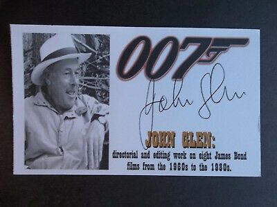 John Glen Director/Editor 8 James Bond Films Autographed 3x5 Index Card