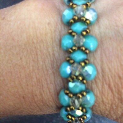Turquois Bracelet Handmade Beaded Fits  Size 6 -7  Bicones Dk Bronze Seed Beads