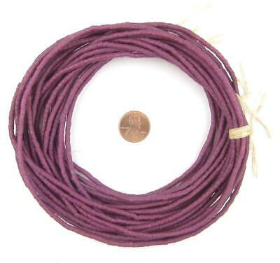 Plum Purple Sandcast Seed Beads 3mm Ghana African Cylinder Glass 26 Inch Strand