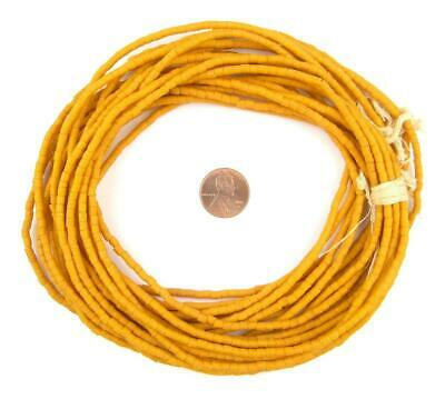 Amber Orange Sandcast Seed Beads 3mm Ghana African Cylinder Glass 26 Inch Strand