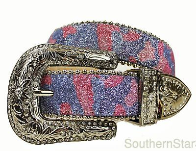 Girls Western Pink Purple Camouflage Belt Cowgirl Metallic Camo Show Belt