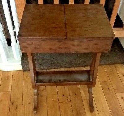 Antique Victorian Birds Eye Maple Sewing Table For Restoration