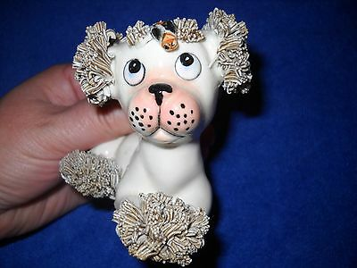 Vintage Spaghetti Poodle Dog Figurine looking up at Fly / Bee / Bug on face