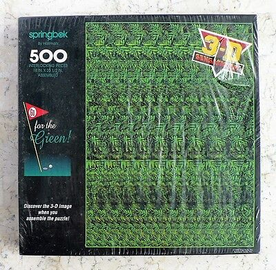 NEW vtg SPRINGBOK Go for the Green BOHDAN 3D Sensations Puzzle 500 LEAVES GRASS