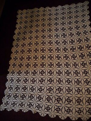 "Antique Vintage Hand Crocheted Lace Tablecloth - Ecru - 50"" x 73"""