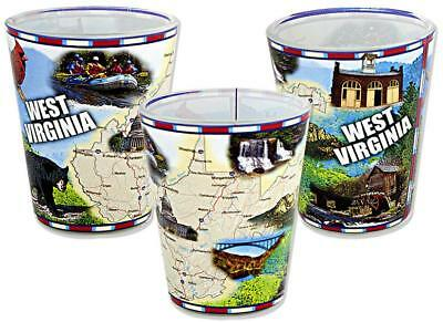 West Virginia Souvenir Shot Glass Wrap Map