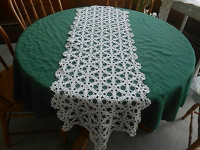 Antique Snow White Hand Crochet Lace Runner In A Beautiful Pattern, Circa 1930