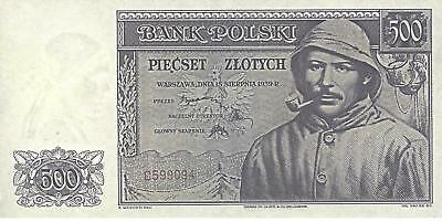 Poland Government In Exill 1939--500 Zloty--Unc--Rare--Not Issued--Reproductions