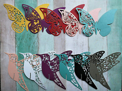 25-100 Butterfly Bird Heart Wedding Party Glass Place Name Table Laser Cut Cards