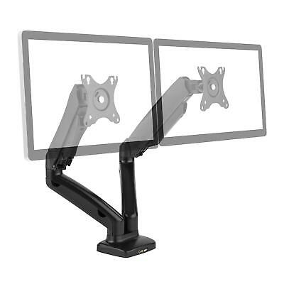"""Auna Dual Screen Monitor Stand Mount Led Lcd 27"""" In Usb 2.0 Swivel Universal"""