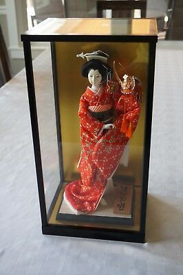 Vintage Japanese Geisha Doll w/ Samurai Helmet in Glass Case