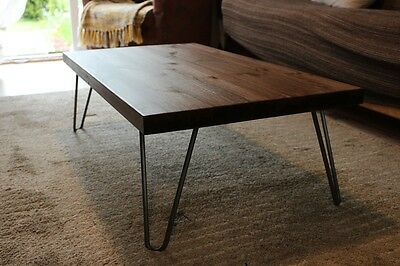 Rustic Vintage Industrial Wood Coffee Table Metal Hairpin Legs