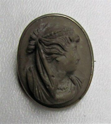 Antique Victorian Lava Cameo 19th Century