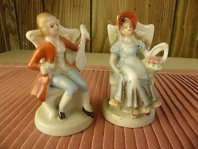 Vintage Colonial Couple -2 Seated Man W/violin Lady W/basket Figurines Japan3""