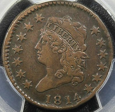 1814 Classic Turban Head Large Cent PCGS VF Details Rim Damage - Early Copper