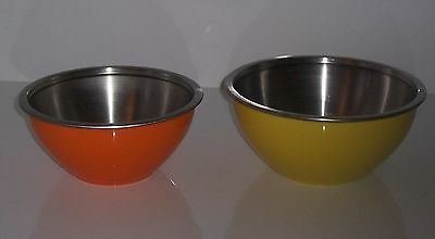 OGGI Mixing Bowls Orange Yellow 4.50 + 3.00 Qt Stainless Steel Lining Lot of 2