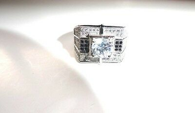 Sterling Silver Black and White Cubic Zirconia Men's Ring Size 7.75