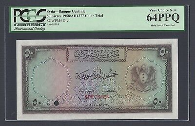 Syria 50 Lira 1950 Second Issue P84ct Color Trial Specimen Uncirculated