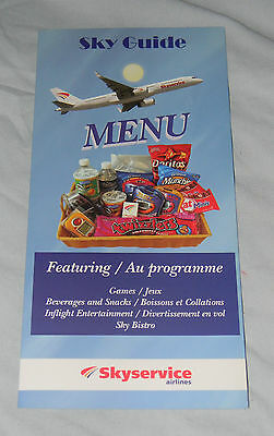 Skyservice Airlines Skyguide Tri Fold In-Flight Menu