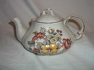 Ellgreave Wood & Sons Fall Flowers Foral Small Teapot Ironstone England