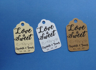 Personalized Wedding, Bridal Shower favor tags. Love is Sweet!