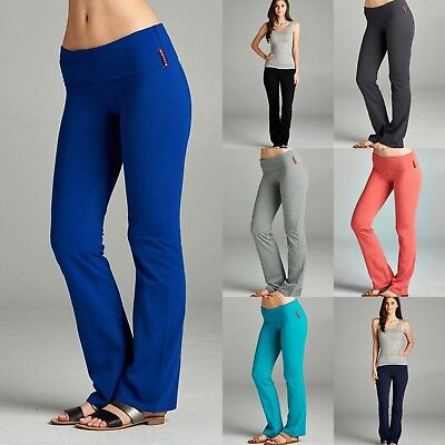 Women's Ladies Yoga Athletic Gym Casual Comfy Stretchy Foldover Lounge PANTS