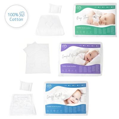 100% Cotton DUVET QUILT & PILLOW 2 Piece Baby Filling Set Crib,Cot,Junior Bed