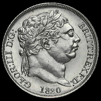 1820 George III Milled Silver Sixpence, Scarce, UNC