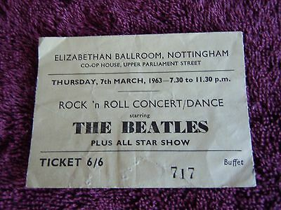 The Beatles Authentic Ticket Early March 7th 1963 Nottingham Orig. & ULTRA RARE!