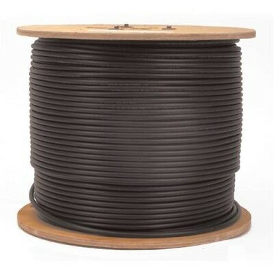 1000FT Shielded Siamese RG59 18-2 Black Cable on Reel, Spool, 95% Braid for CCTV