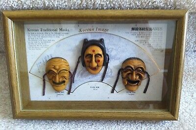 Korean Traditional Masks Framed Three Dimension - Paek jong, Bune, Yangban