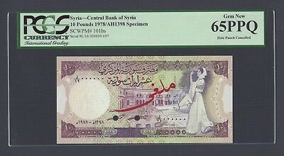 Syria Syrie 10 lira 1978 P101bs Specimen  Uncirculated