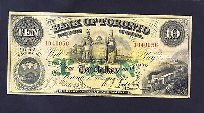 1923 Bank of Toronto  10 Dollars  Nice Large Size Yellow Note Canada