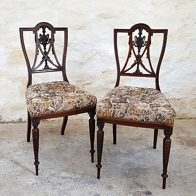Victorian Pair of Carved Rosewood Saloon Bedroom Chairs - C1880 (Antique)