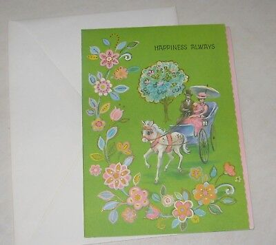 vintage  wedding greeting card, unused , horse and carriage buggy scrapbooking