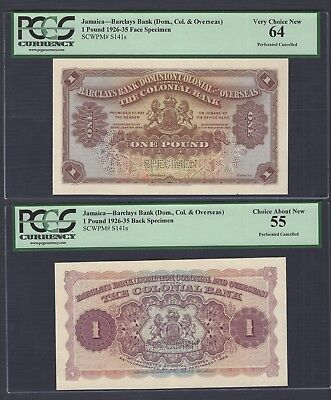 Jamaica Face & Back One Pound (1926-1935) Barclays Bank Ps141s Proof Specimen