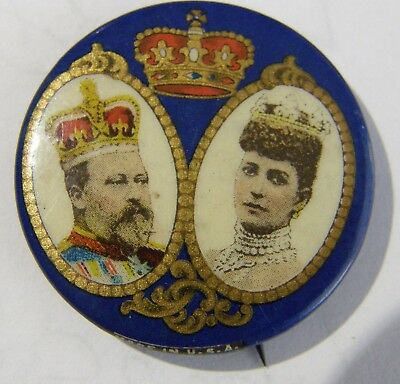 1909 Edward Vii & Alexandra Celluloid Pin-Back Compliments Dr.w.i Rice London
