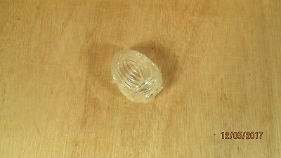 Vintage USA Art Deco Ribbed Clear Glass Bird Cage Feeder Seed Water Wire Cage
