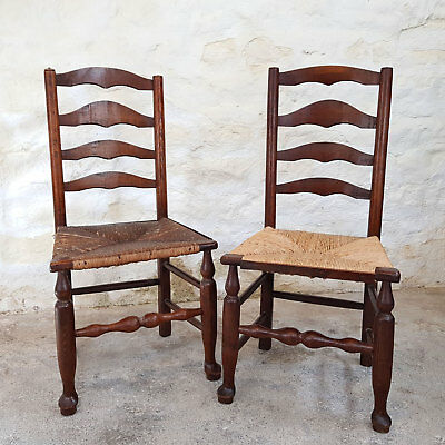 C19th Pair of Elm Ladderback & Rush Seated Country Kitchen Chairs (Antique)