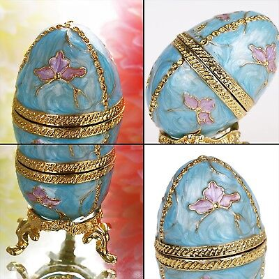Russian Egg Figurine Box Metal Craft Gifts Decoration Vintage Jewelry Accessory