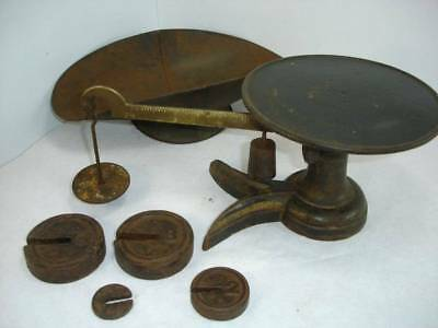 Antique Little Detective Scale w/Tin Scoop & 4 Weights Chicago Scale Co