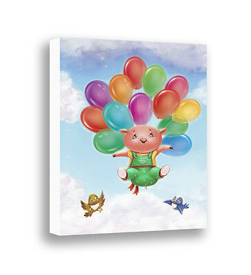 Pig Art Canvas Print Baby Nursery Wall Art Farm Animals Kids Room Wall Decor