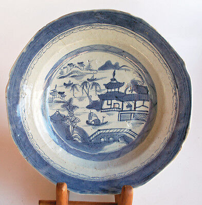 Antique Chinese Canton Plate 1820-1880 Blue on White Old China.Plate